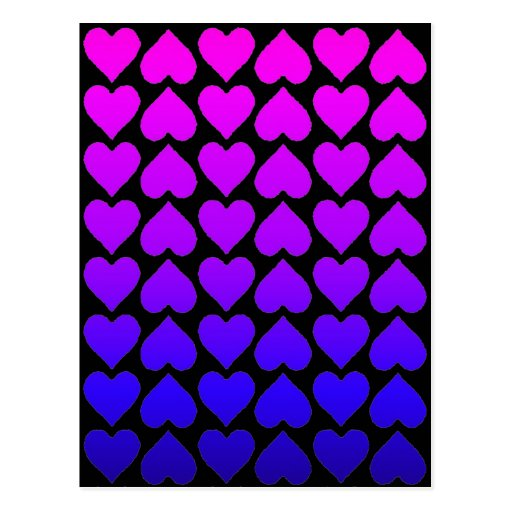 Heart Pattern In Blue Mauve And Purple Post Cards