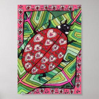 Heart Pattern Ladybug Mini Folk Art Poster