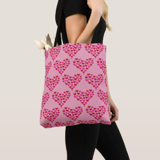Heart Pattern Love Pink Graphic Tote Bag
