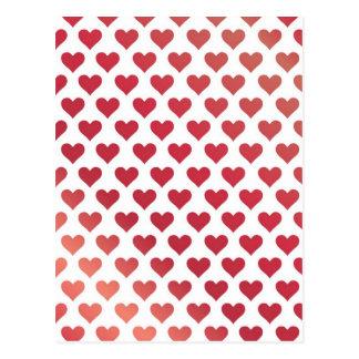 Heart Pattern - Red Berry Gradient Postcard