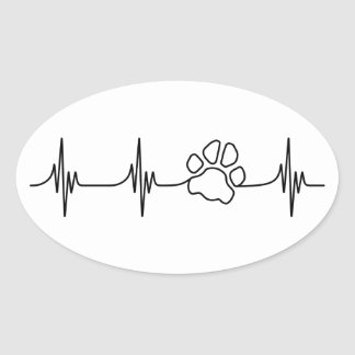 Heart-PAW-Beat Oval Sticker