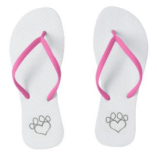 Heart Paw Flip Flops