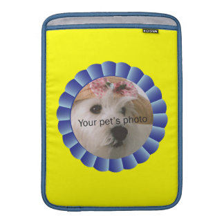 Heart-Paw Footprints Blue Ribbon Pet Template MacBook Sleeve