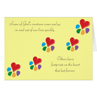 "Heart-Paw_""Footprints on the Heart"" pet sympathy Stationery Note Card"