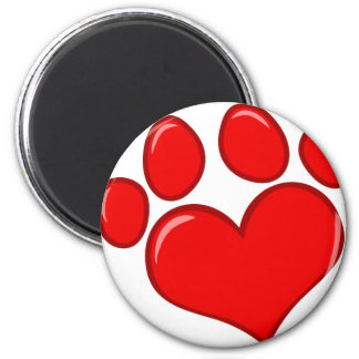 Heart Paw Print 2 Inch Round Magnet