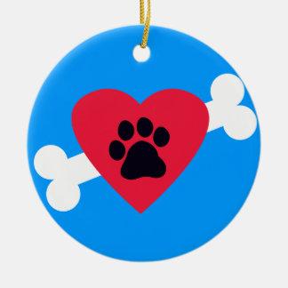 Heart, Paw Print, Bone Design Ceramic Ornament