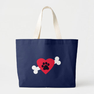 Heart, Paw Print, Bone Design Large Tote Bag