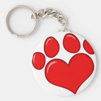 Heart Paw Print Keychain