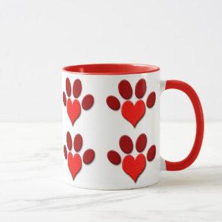 Heart Paw Print Ringer Mug