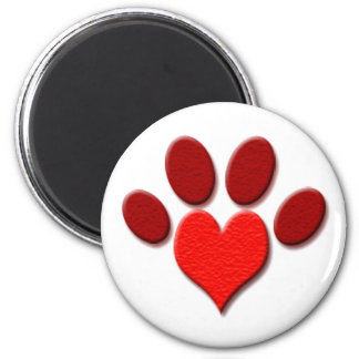 Heart Paw Print Standard, 2¼ Inch Round Magnet
