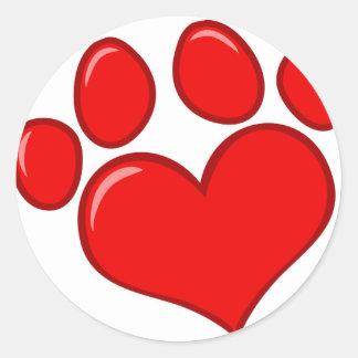 Heart Paw Print Classic Round Sticker