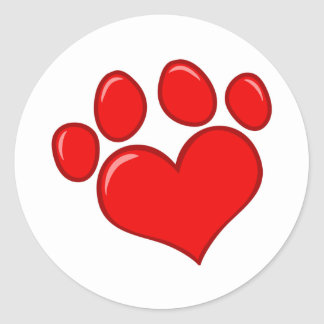 Heart Paw Print Round Sticker