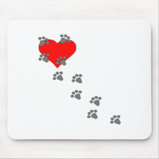 Heart (Paw Prints) Mouse Mat