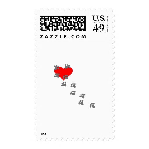 Heart (Paw Prints) Postage Stamp
