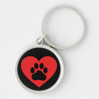 Heart Paw Red Keychain