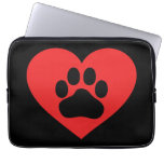 Heart Paw Red Laptop Sleeve