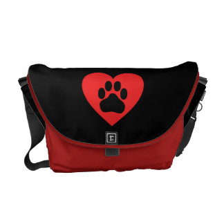 Heart Paw Red Commuter Bag