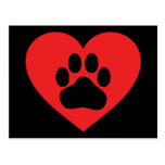 Heart Paw Red Postcard