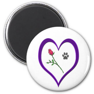 Heart Paw Rose Magnet