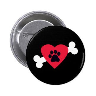 Heart, Pawprint and Bone Design Buttons