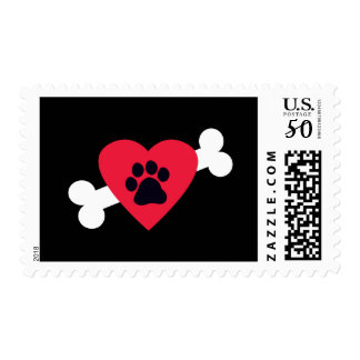 Heart, Pawprint and Bone Design Postage Stamps