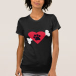 Heart, Pawprint and Bone Design T-Shirt