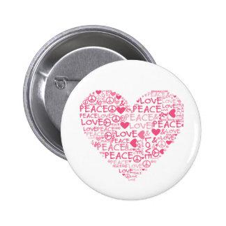 Heart peace & love pinback button