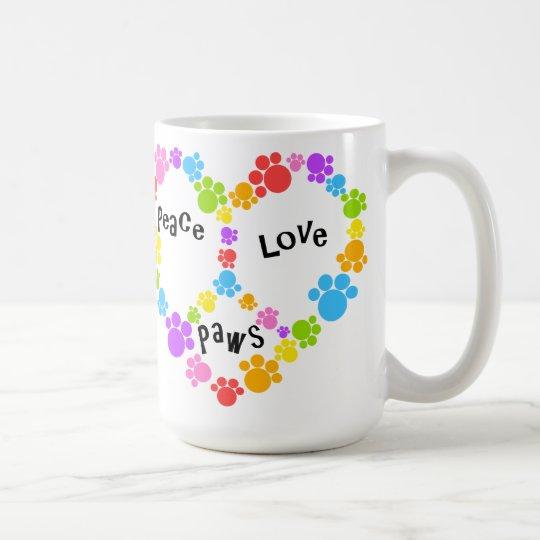 Heart Peace Sign Mug Paw Prints Coffee