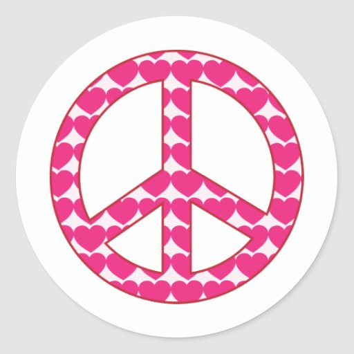 Heart Peace Sign Round Stickers