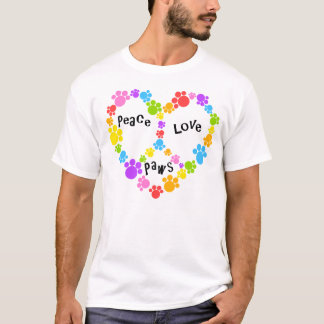 heart peace sign shirt! Rainbow paw prints! T-Shirt