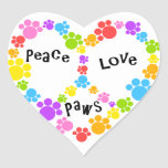 heart peace sign sticker! paw prints! heart sticker