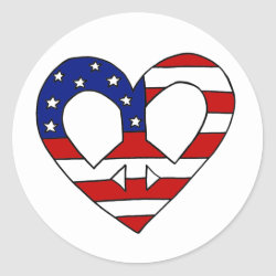 Heart Peace USA Flag Elections Classic Round Sticker