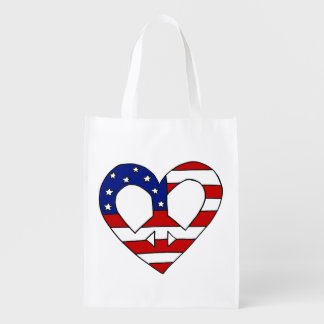 Heart Peace USA Flag Elections Grocery Bag