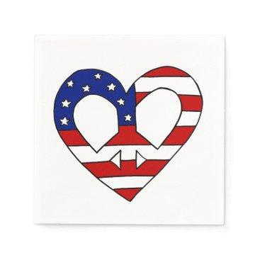 USA Themed Heart Peace USA Flag Elections Paper Napkin
