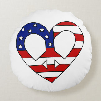 Heart Peace USA Flag Elections Round Pillow