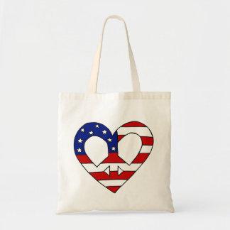 Heart Peace USA Flag Elections Tote Bag
