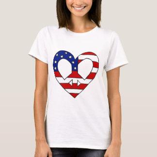 Heart Peace USA Flag Symbol T-Shirt