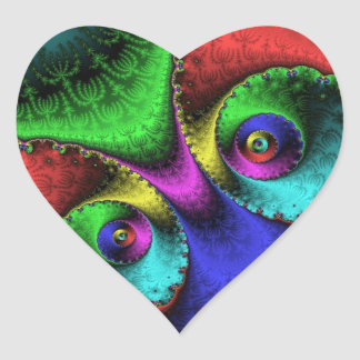 Heart - Peacock Eyes Heart Sticker