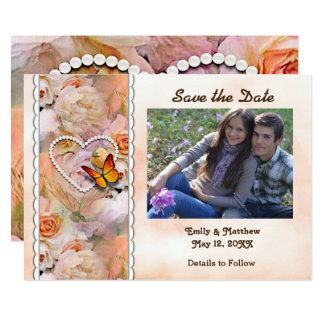 Heart Pearls, Orange Roses, Butterflies Save Date Card