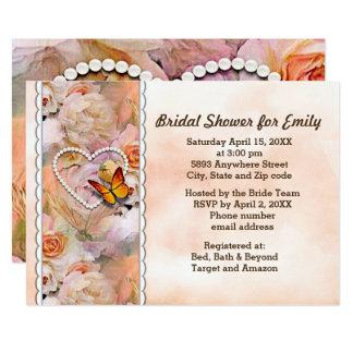 Heart Pearls, Orange Roses & Butterflies Shower Card