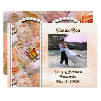 Heart Pearls, Orange Roses & Butterflies Thank You Card