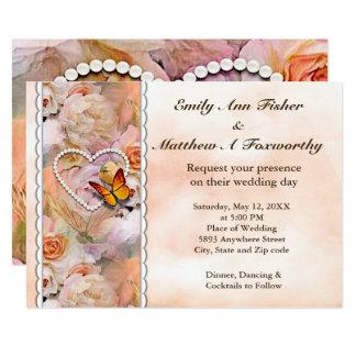 Heart Pearls, Orange Roses & Butterflies Wedding Card