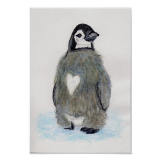Heart Penguin Watercolour Art Birthday Christmas Poster
