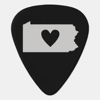 Heart Pennsylvania state silhouette Guitar Pick