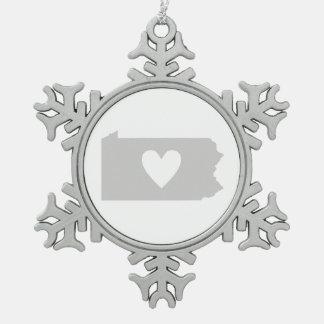 Heart Pennsylvania state silhouette Snowflake Pewter Christmas Ornament