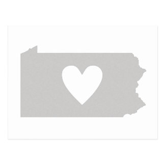 Heart Pennsylvania state silhouette Postcard