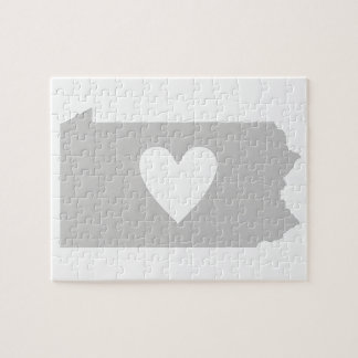 Heart Pennsylvania state silhouette Puzzle