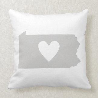 Heart Pennsylvania state silhouette Throw Pillow