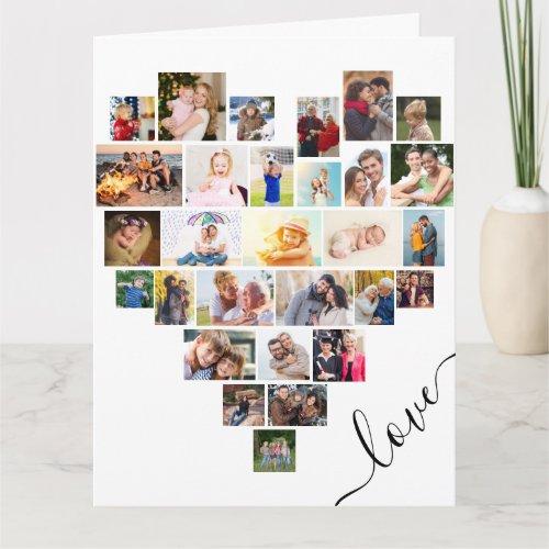 Heart Photo Collage Love Script Anniversary Card
