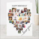 """Heart Photo Collage Love Script Birthday Card<br><div class=""""desc"""">Say Happy Birthday with a love heart photo collage card. The photo template is set up for you to add your pictures, working in rows from top to bottom. The photo collage holds 29 photos which are displayed in a mix of portrait, landscape and square / instagram formats. """"love you""""...</div>"""
